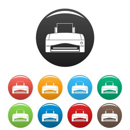 Color home printer icons set color Illustration