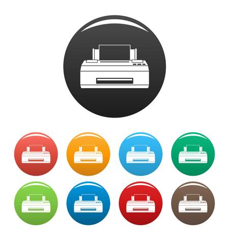 Old printer icons set 9 color vector isolated on white for any design