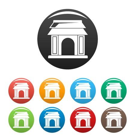Asian gate icons set color