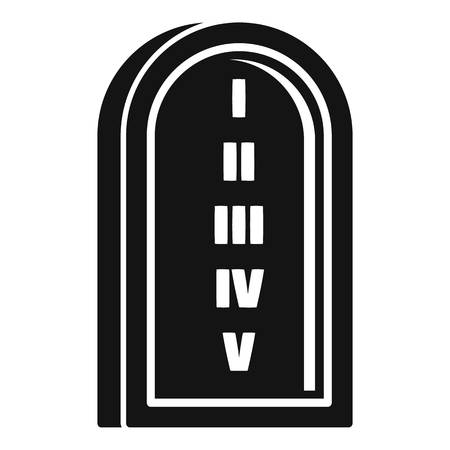 Jewish stone tablet icon, simple style