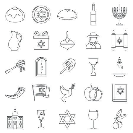 Hanukkah holiday icon set, outline style