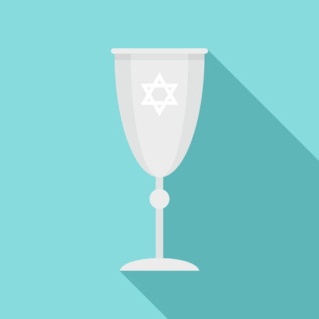 Jewish silver cup icon, flat style