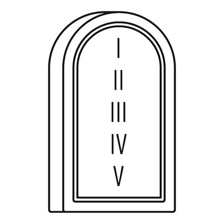 Jewish stone tablet icon, outline style