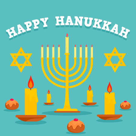 Happy hanukkah candles concept background, flat style Stock Photo