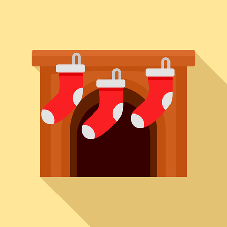 Xmas socks on fireplace icon, flat style