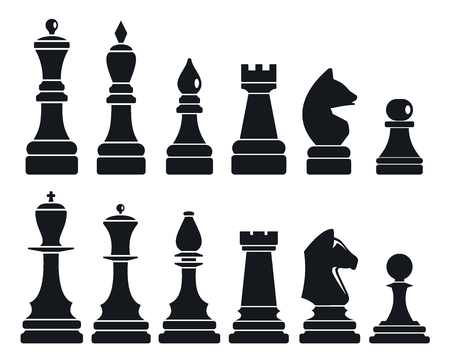 Chess game icon set, simple style