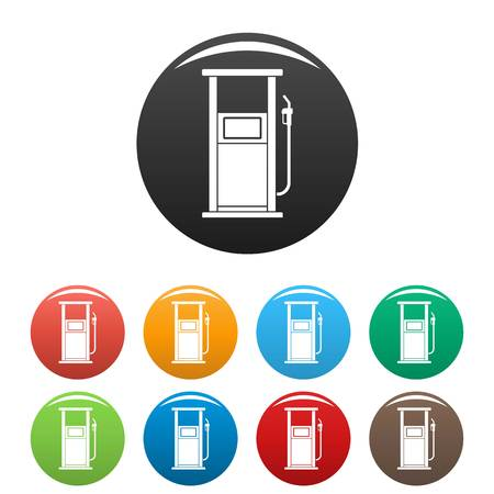 Fuel refill stand icons set color