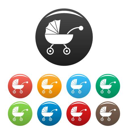 Baby carriage icons set color