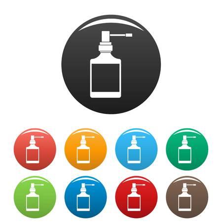 Respiration spray bottle icons set color Stock Photo