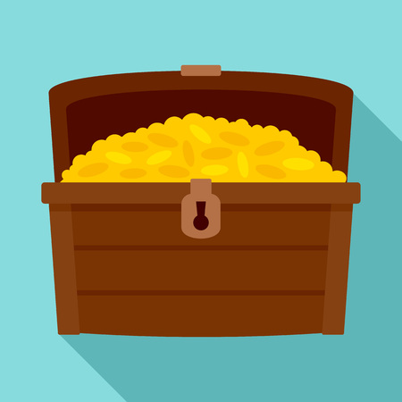 Dower chest icon, flat style Stock Photo