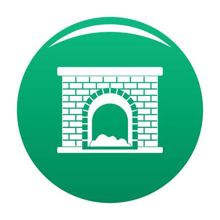 Brick fireplace icon green Stock Photo