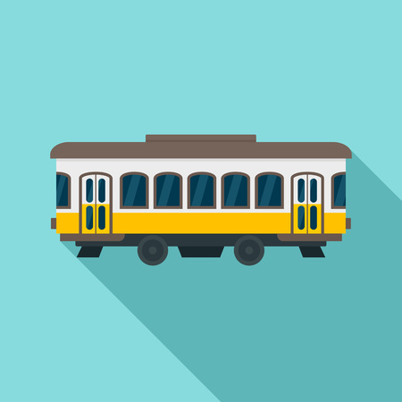 City old tram icon, flat style Stock Photo