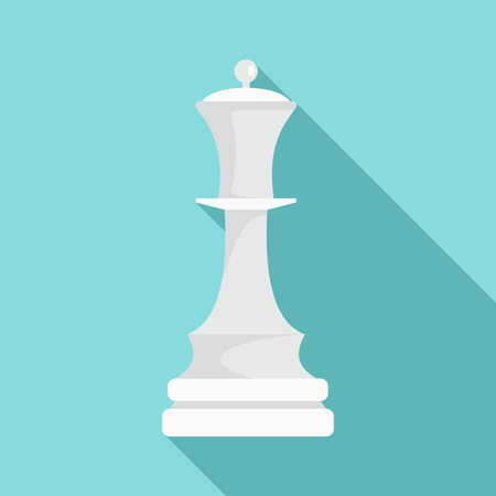 White chess queen icon, flat style