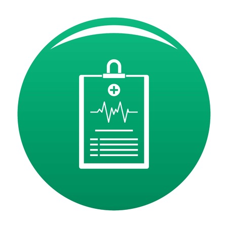 Cardiogram on tablet icon green Stock Photo