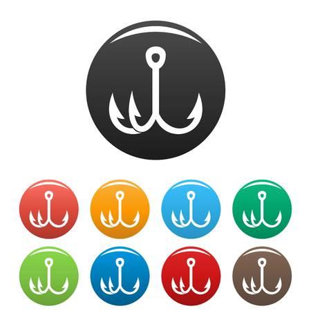 Triple fish hook icons set color
