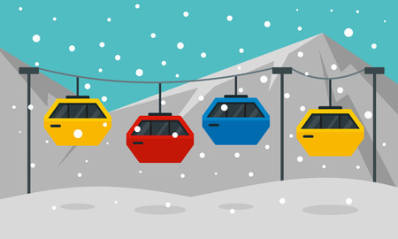 Cable car banner. Flat illustration of cable car vector banner for web design
