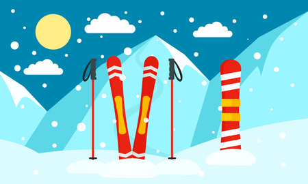 Mountain ski snowboard banner. Flat illustration of mountain ski snowboard vector banner for web design 矢量图像