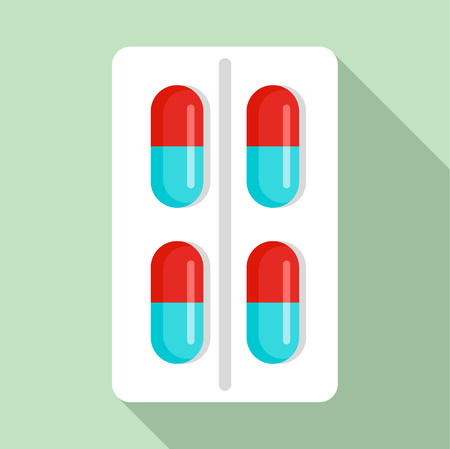 Red blue capsule icon, flat style Çizim
