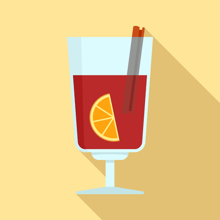 Mulled wine icon. Flat illustration of mulled wine vector icon for web design