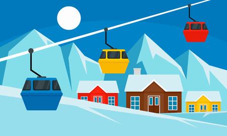 Cable car ski resort banner. Flat illustration of cable car ski resort vector banner for web design