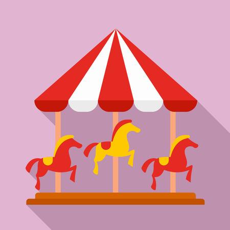 Horse carousel icon, flat style