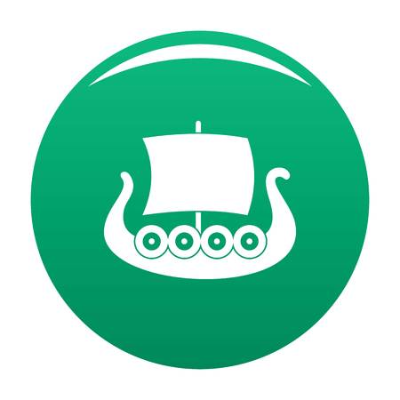 Ship viking icon. Simple illustration of ship viking vector icon for any design green