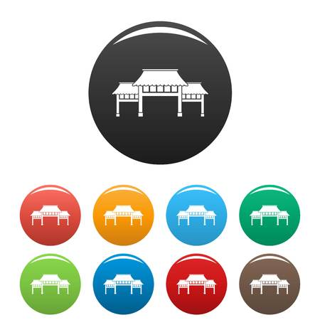 Asian arch icons set color Illustration