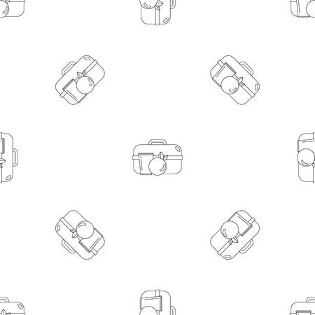 Apple lunch box icon. Outline illustration of apple lunch box vector icon for web design isolated on white background Illustration