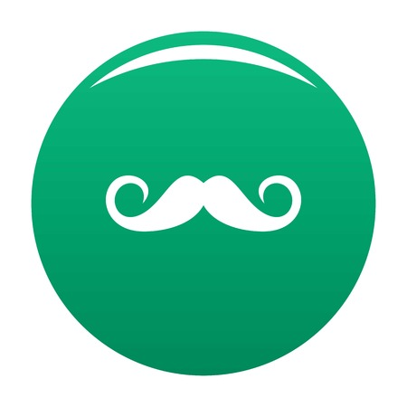Person mustache icon vector green
