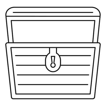 Open treasure chest icon, outline style