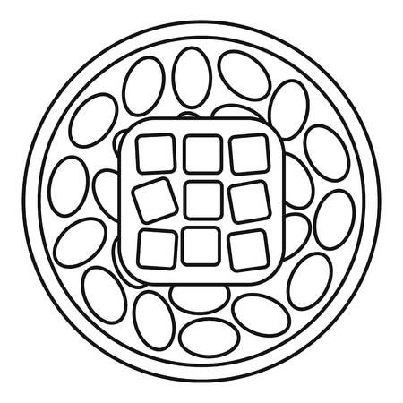 Rice sushi icon, outline style Stock Photo