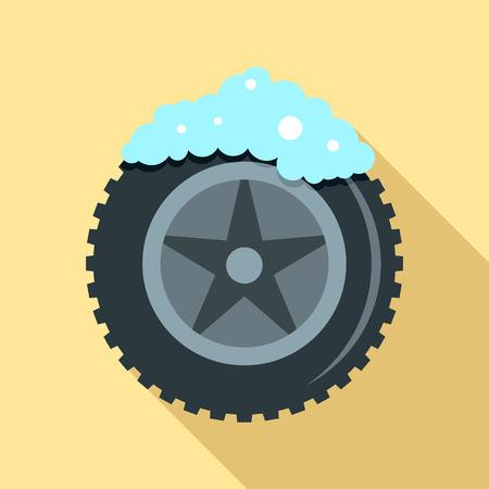Wash car tire icon, flat style Stock Photo