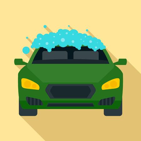 Foam wash car icon, flat style