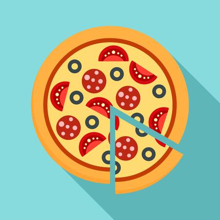 Margarita pizza icon, flat style Stock Photo