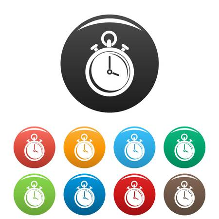 Contraceptive stopwatch icons set color