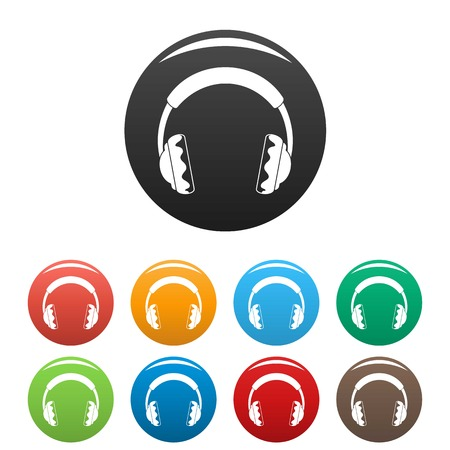 Rock headphones icons set color Standard-Bild