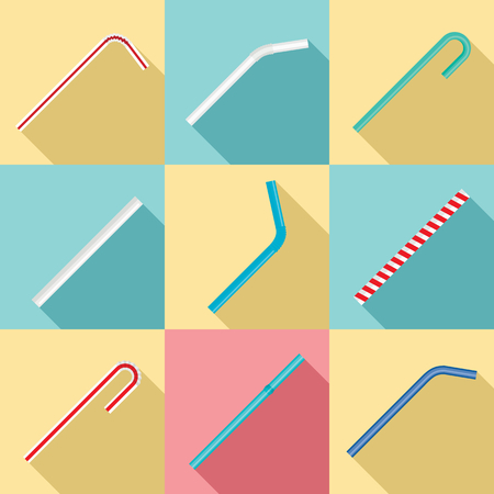 Drinking straw day icon set, flat style