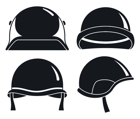 Soldier helmet icon set, simple style Stock Photo