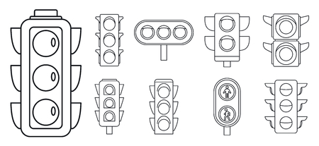 Road traffic lights icon set, outline style 스톡 콘텐츠