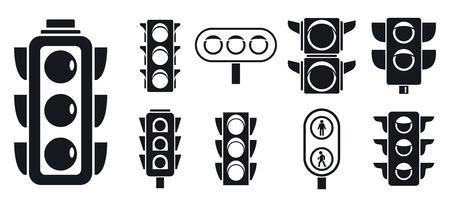 Street traffic lights icon set, simple style