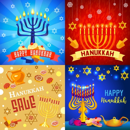 Hanukkah banner set, cartoon style Stock Photo