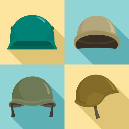 Army helmet icon set, flat style