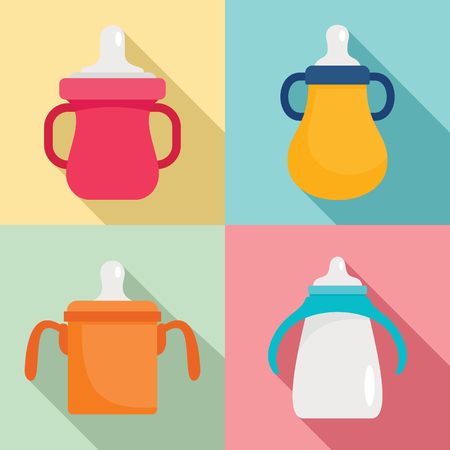 Sippy cup icon set, flat style