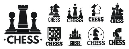 Chess game   set, simple style Stock Photo