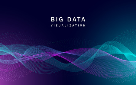 Visualization big data banner, realistic style