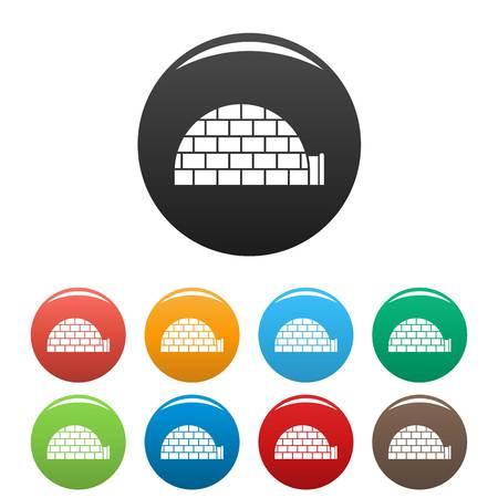 Alaska igloo icons set color