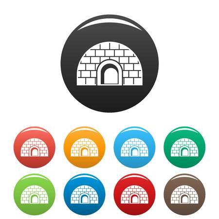 Igloo icons set color