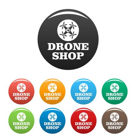 Drone market icons set color