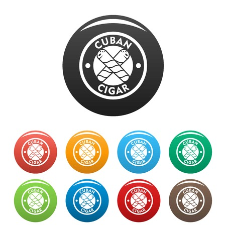 Cuban fresh cigar icons set color Stock Photo