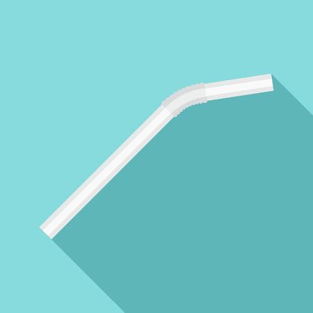 White drink straw icon, flat style Stock Photo